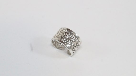Unisex Flower of life Ring, 925 Silver/ Gold Plated, Wide Flower of Life Ring, Adjustable Flower of Life Ring