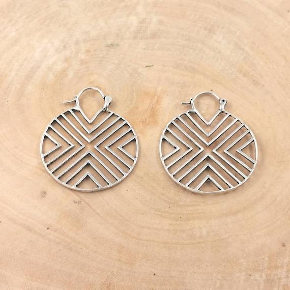 Geometry Boho Hoop Earrings Silver