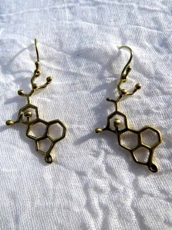 LSD Earrings, LSD Molecule, Molecular Structure, Molecular Structure Earrings, 925 Silver/Brass