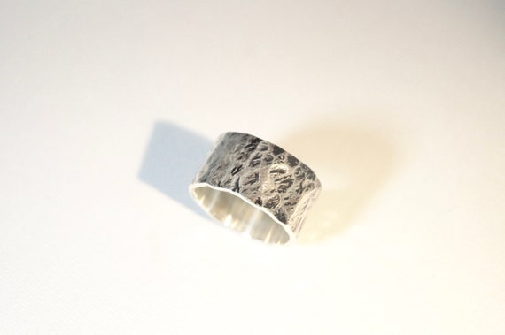 Thick Hammered 925 Silver Ring, Wide Brutalist Ring for Men and Women Large Width