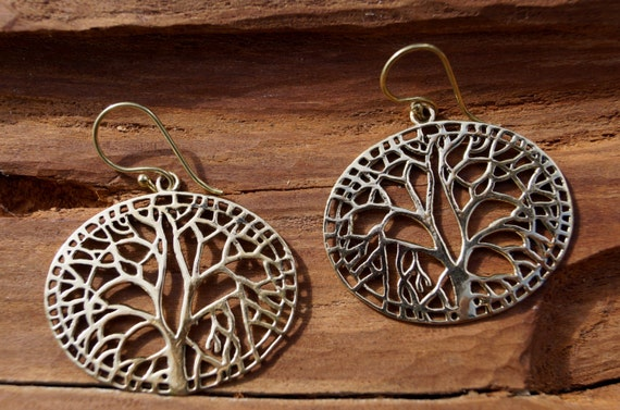 Tree of Life Earrings Brass, Yggdrasil Earrings