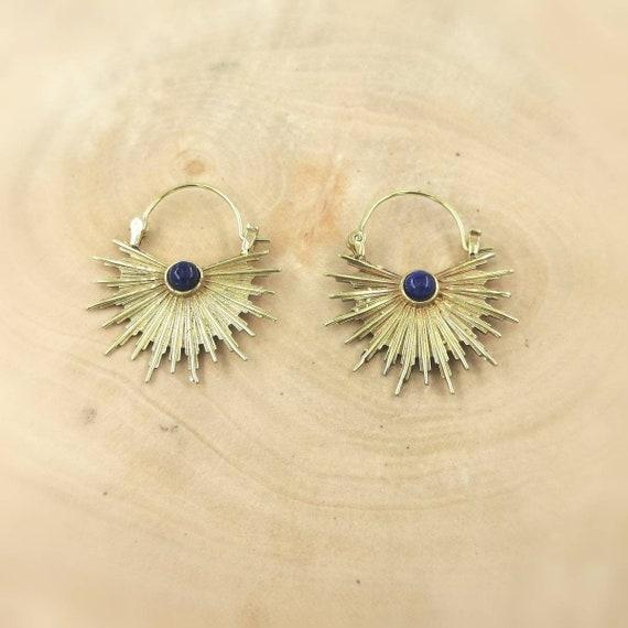 Golden Sun  Hoop Earrings with Stone, Boho Sun Earrings