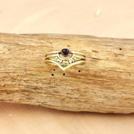 Boho Dainty Brass Ring with Stone, Stackable Boho Ring, Knuckle Ring, Elf Ring, Amethyst, Moonstone, Labradorite, Turquoise, Lapis Lazuli