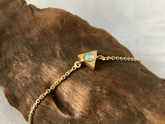 Triangle Geometric Bracelet with Opal or Rainbow Moonstone 18k Gold Plated or 925 Silver