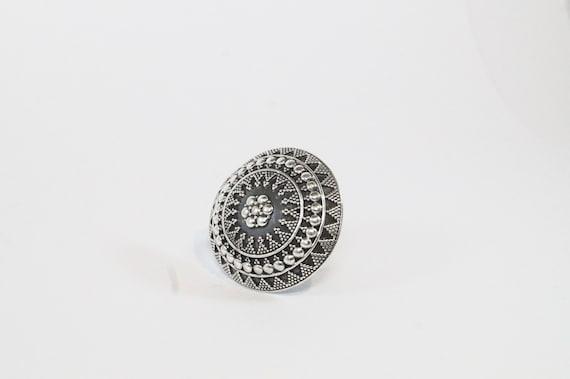 Tribal Silver Ring, Boho Silver Ring, Big Tribal Round Ring, Vintage Tribal Ring, Statement Ring