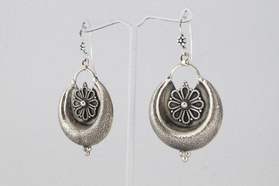 Tribal Flower  Moon Silver  Earrings