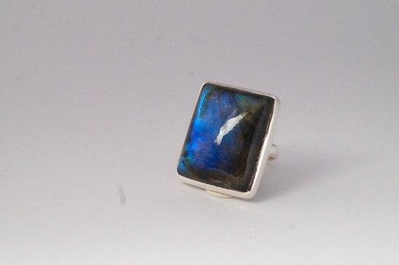 Rectangular Blue Labradorite Silver Ring