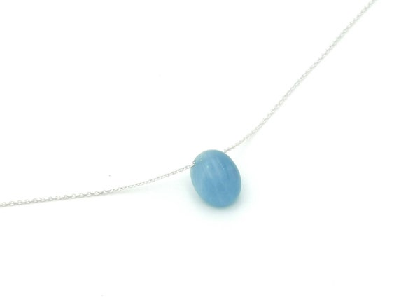 Aquamarine Stone Charm on 925 Silver Chain, Floating Aquamarine Charm, Drilled Aquamarine on Silver Chain, Elegant Aquamarine Necklace