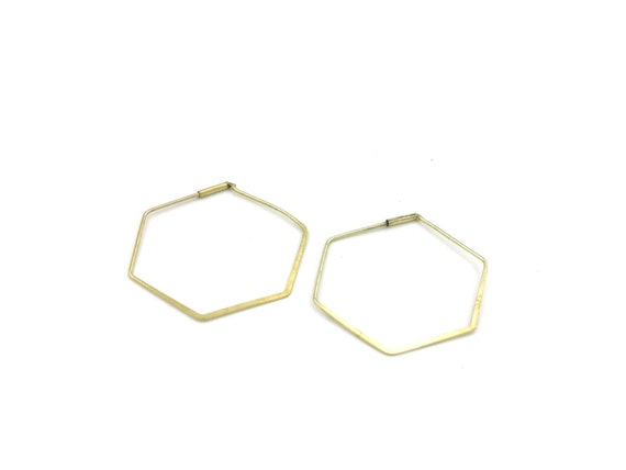 Minimalist Hexagon Hoops Brass