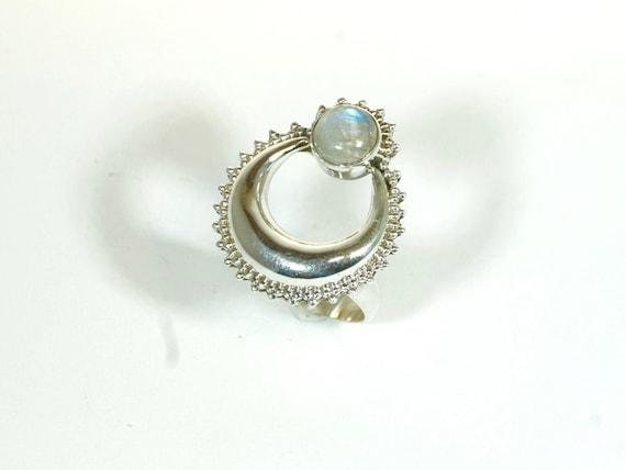 Halfmoon with Stone 925 Silver Boho Ring, Vintage Stone Ring