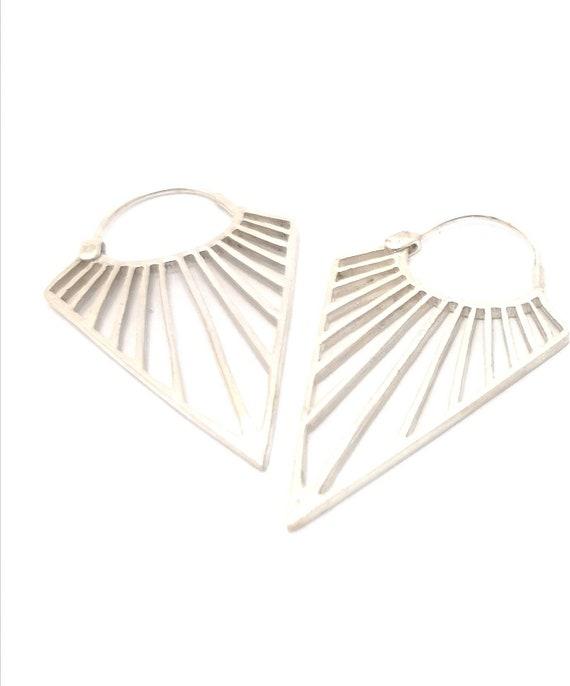 Romboid Fan 925 SIlver Earrings, Fan Earrings, Romboid earrings, Triangular Earrings