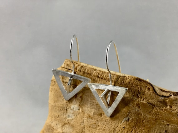 3D Triangle 925 silver Earrings