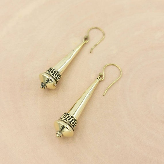 Long Golden Tribal Hanging Earrings