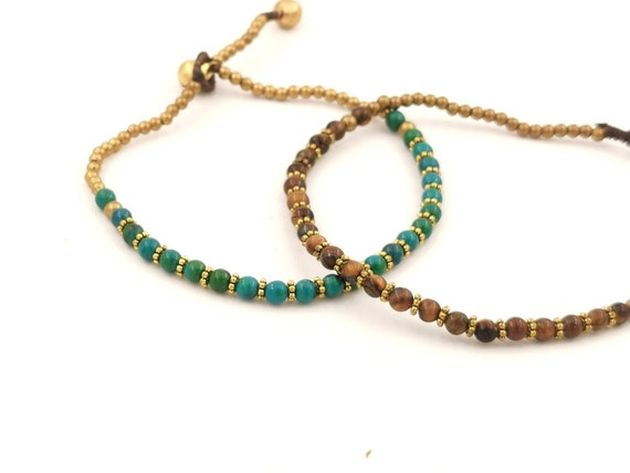 Brass Anklet with Natural Stone Beads