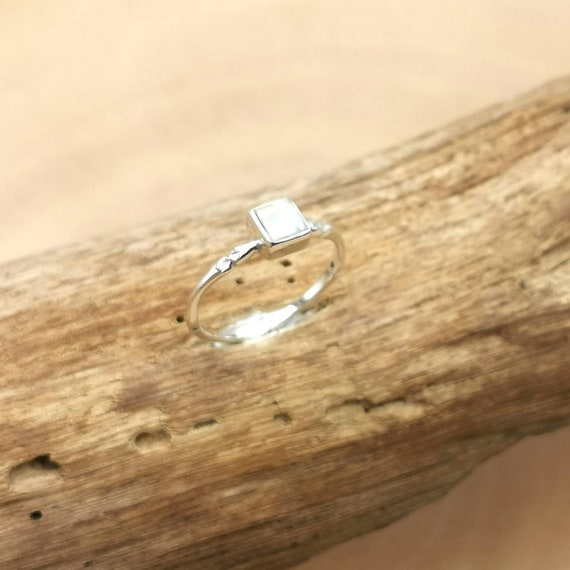Dainty 925 Silver Ring with Square Faceted Stone, Black Onyx, Citrin, Aquamarine, Moonstone, Peridot