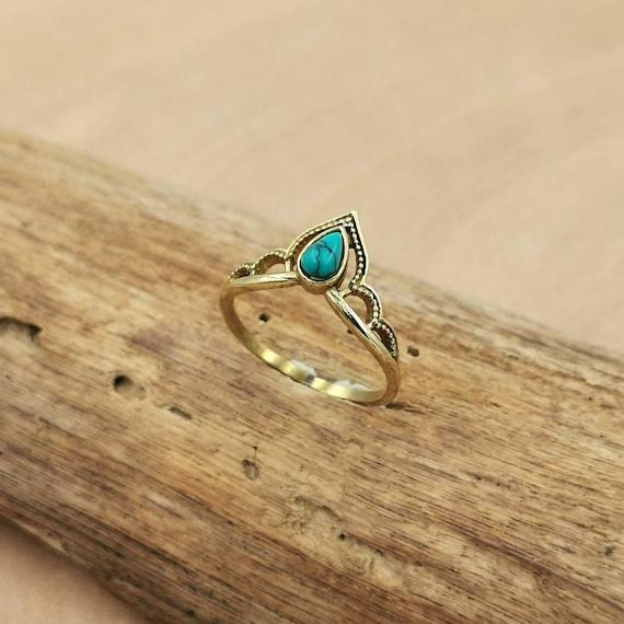 Handmade Golden Princess Ring with Stone, Brass Crown Ring, Chevron Ring, Tiara Crown Ring, Moonstone, Lapis Lazuli, Turquoise, Labradorite