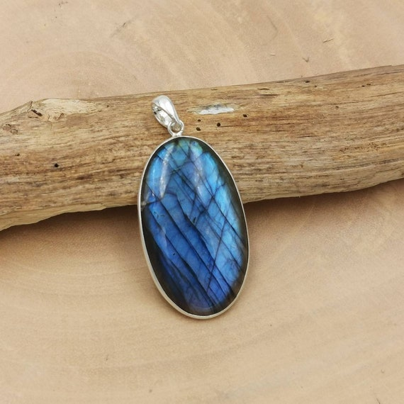 Oval Blue Labradorite 925 Silver Pendant with Chain, Large Labradorite Pendant with Thin Setting
