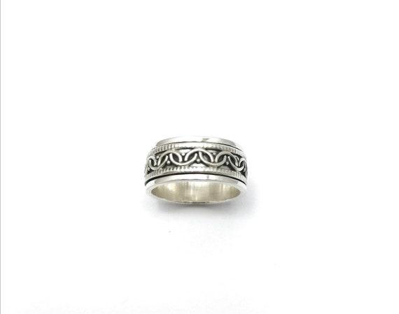Boho Spinning Ring 925 Silver for Men and Women, Meditation Ring