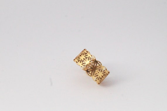 Flower of Life Ring 925 Silver/ Gold Plated, Wide Flower of Life Ring, Adjustable Flower of Life Ring