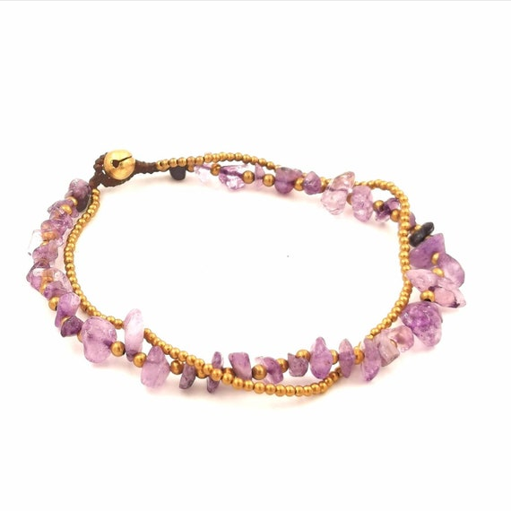 Brass Anklet with Tumbled Stone Beads and Brass Bells, Rose quartz, Tigers Eye, Amethyst, Coral, Lapislazuli