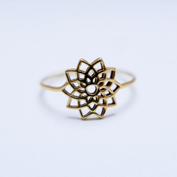 Star Mandala 18k Gold Plated 925 Silver Ring, Mandala Ring, Simple Boho Ring
