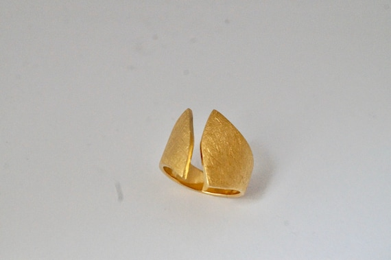 Solid Open Asymmetric Ring 18K Gold Plated/ 925 Silver Matte Finishing