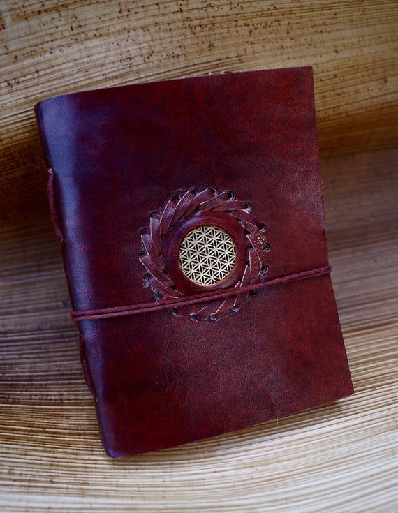 Handmade Camel Leather Notebook with Flower of Life, 4,5x7 Inches