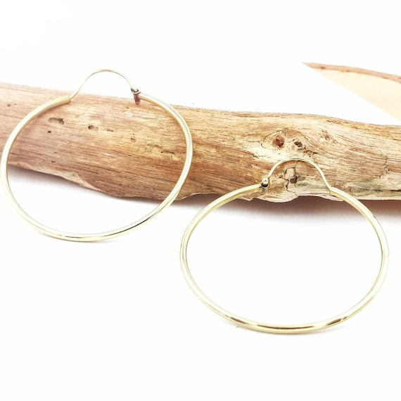 Thick Large Golden Hoops, Classic Brass Hoops, Nickel-Free Brass, Simple Tribal Hoops, 60 mm Brass Hoops