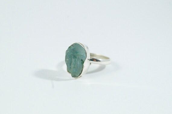 Raw Aquamarine Silver Ring, Natural Raw Aquamarine Ring, Adjustable Aquamarine Ring, 925 Silver