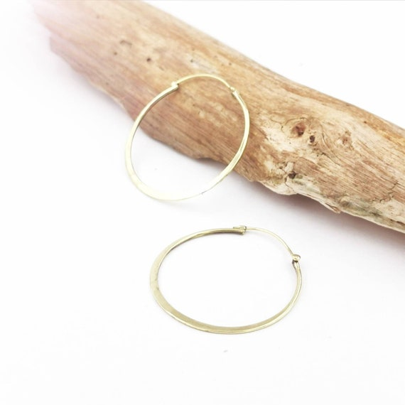 Large Flat Gold Hoops, Simple Brass Hoops