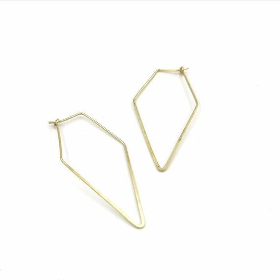 Minimalist Geometric Hoops Brass