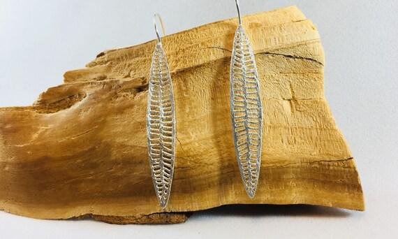 Long 925 Silver Leaf Earrings, Tropical Leaf Earrings