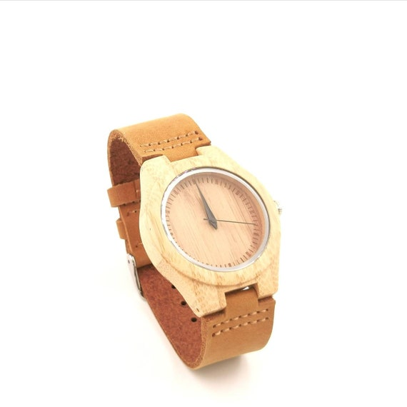 Bamboo Watch for Men and Women, Wood Watch with Plain Dial