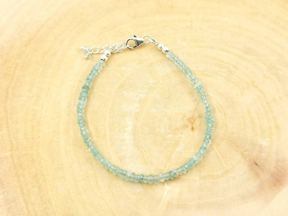 Thin Faceted Aquamarine Bracelet 18k Gold Plated/925 Silver with Charm