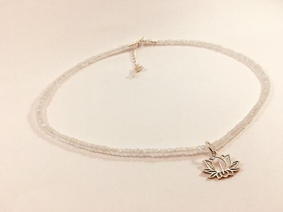 Rainbow moonstone silver beaded necklace