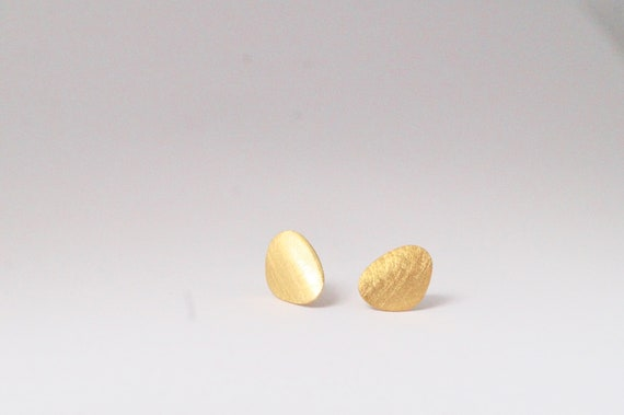 Asymmetrical Drop Gold plated  Studs