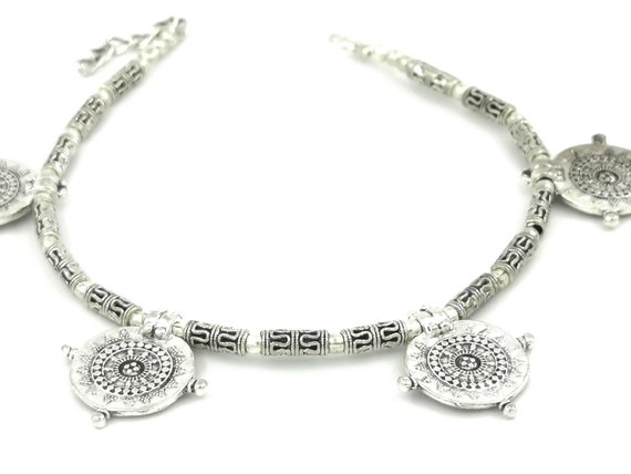 Silver Plated Tribal Anklet with Coin Shaped Beads, Tribal Silver Anklet, Boho Anklet