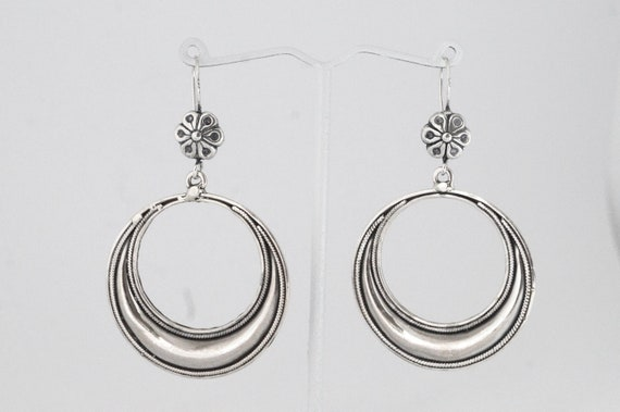 Classic Tribal Boho Hoops 925 Silver, Antique Tribal Hoop Earrings