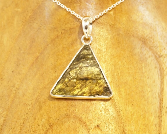 Triangular Raw Labradorite 925 Silver Pendant, Yellow Fire Raw Labradorite Pendant