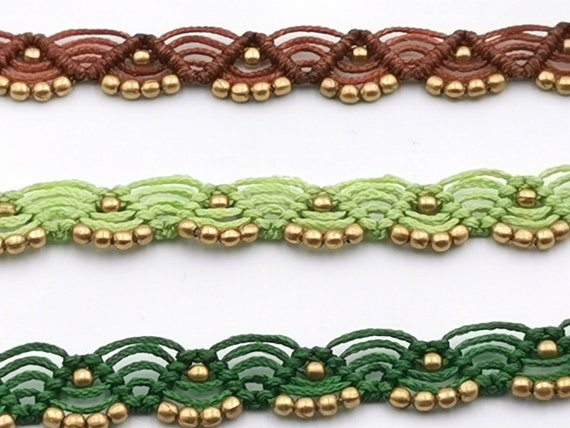 Simple Handmade Macrame Anklet with Brass Beads in Different Colours