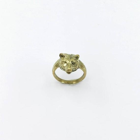 Unisex Bear Head Ring Brass, Small Bear Head Ring, Golden Animal Head Ring