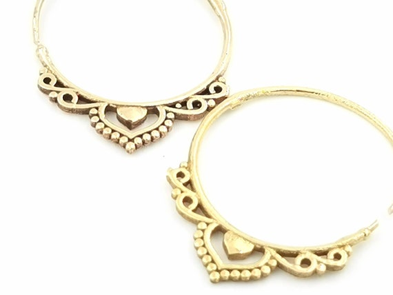 Elegant Brass Boho Hoop Earrings with Oriental Pattern