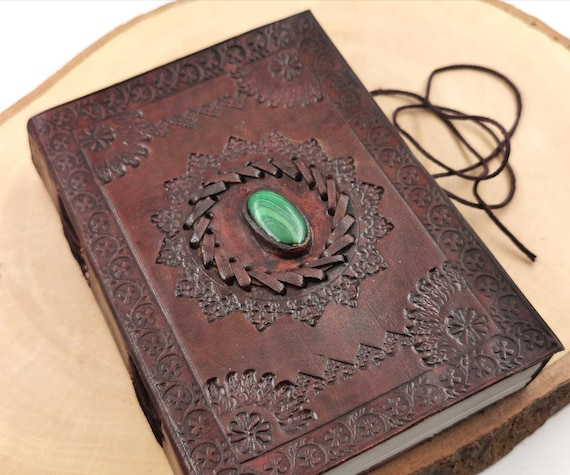 "Handmade Camel Leather Notebook with Malachite, ""Classic Sun"", 5x 7 Inch, Travel Journal"