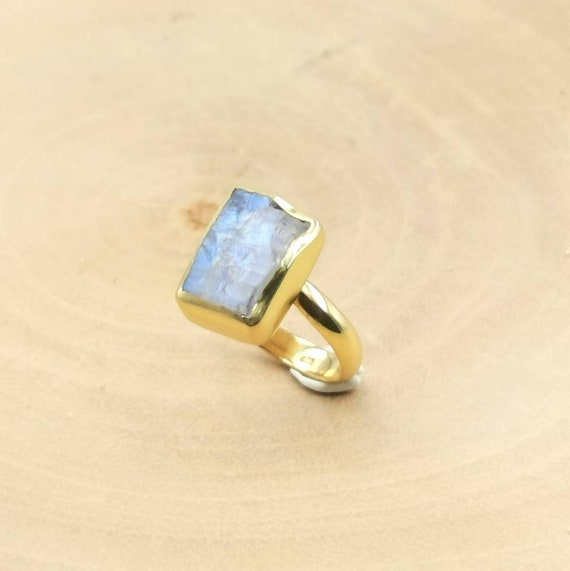 Rectangular Raw Rainbow Moonstone Ring 925 Silver 18K Gold Plated, Adjustable Gold Moonstone Ring