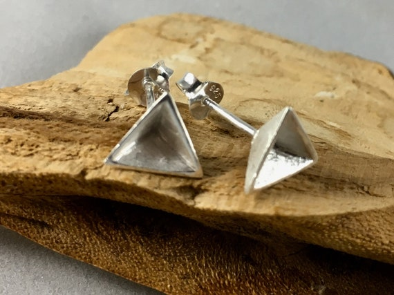 Hollow Pyramid Silver Studs, Geometrical Studs