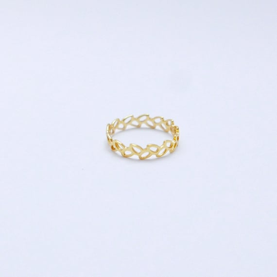 Winded Leaves 18k Gold Plated 925 Silver Ring, Leaf Pattern Gold Ring, Elegant Everyday Ring