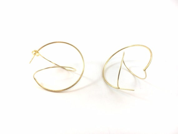 Open Sphere 18K Gold Plated 925 Silver Studs, Geometric Studs