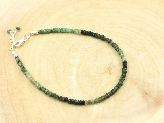Thin Faceted Emerald Bead Bracelet 925 Silver with Charm