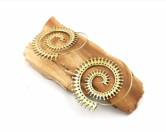 Summer Spiral Boho Earrings with Sun Pattern, Large Boho Spiral Earrings in Brass