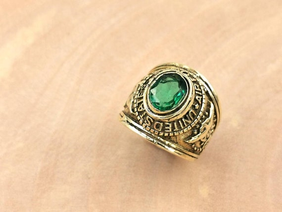 U.S. Airforce Ring with Stone, Men Brass Ring with big Stone